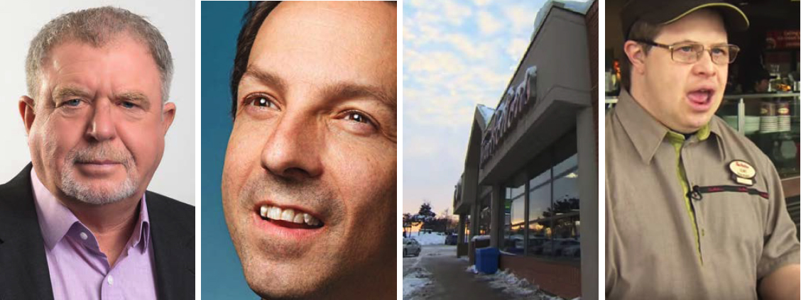 Montage of Mark Wafer, Rich Donovan, Tim Horton's storefront and employee